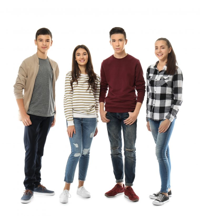 Group of teenagers on white background
